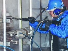 High pressure water blasting for industrial cleaning different surfaces